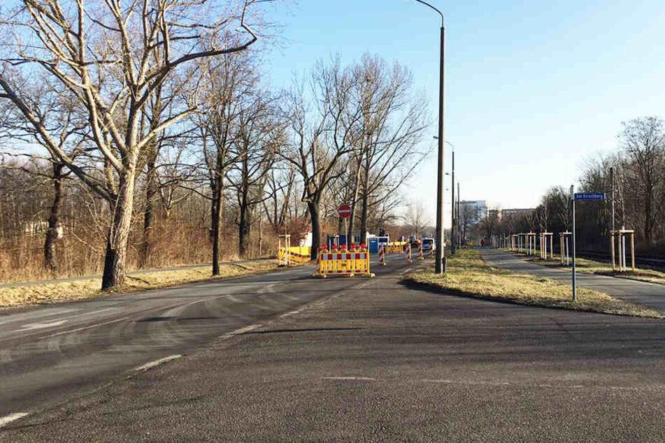 """Stadteinwärts ist die Lützner Straße gesperrt. Autofahrer, die vor der Baustelle stehen, können nur nach rechts in die Straße """"Am Kirschberg"""" abbiegen."""