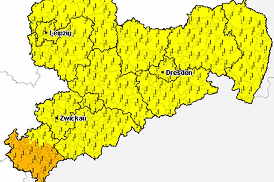 In ganz Sachsen muss am Samstag mit Gewittern gerechnet werden.