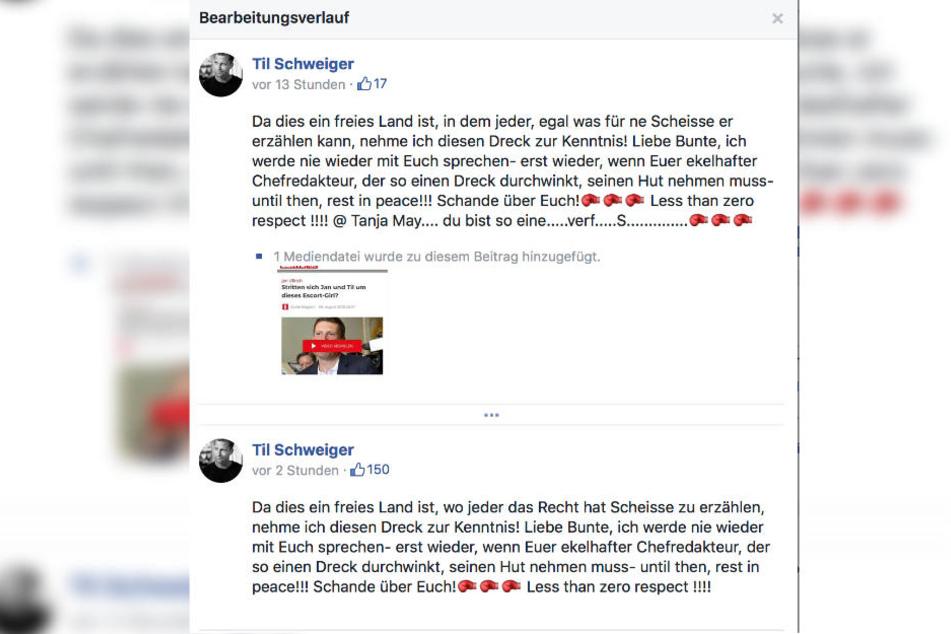 Der Bearbeitungsverlauf von Til Schweigers Facebook-Post.