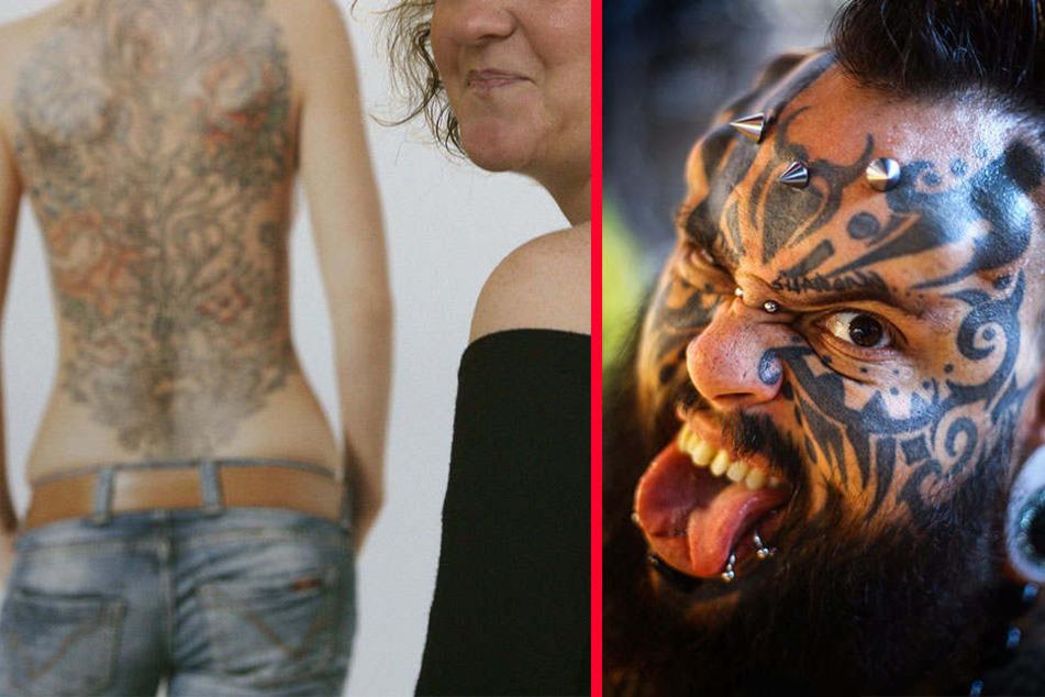 Immer mehr Menschen in Deutschland tragen Tattoos und/oder Piercings und zeigen ihre Körperkunst offen.