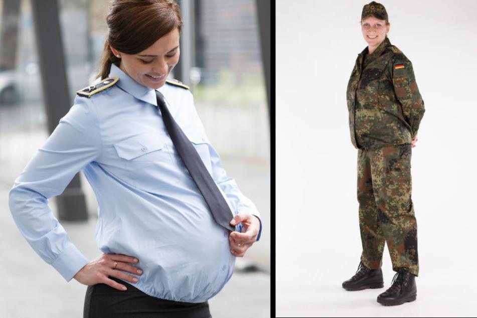 In gestellten Szenen tragen Soldatinnen Umstandsmode.