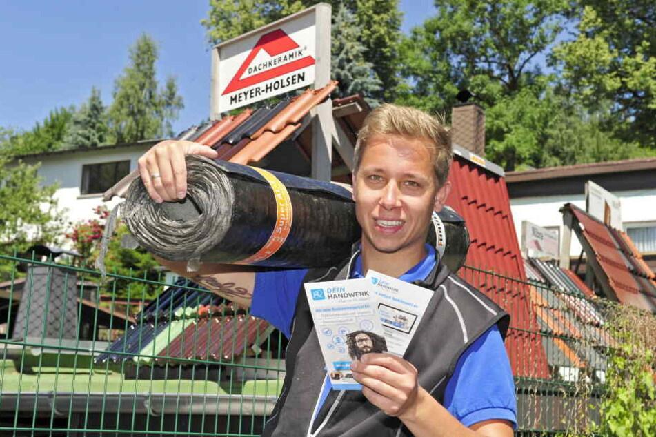 Mario Anders (28), selbst Dachdecker, hat die Idee mitentwickelt.