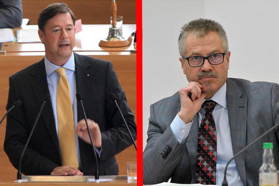 Stadtrat Andreas Schmalfuss (50, F.l.) will die Planungs-Summe nach unten korrigieren, Ordnungsbürgermeister Miko Runkel (56, F.r.) rechnet aber wieder mit 6,3 Millionen Euro.