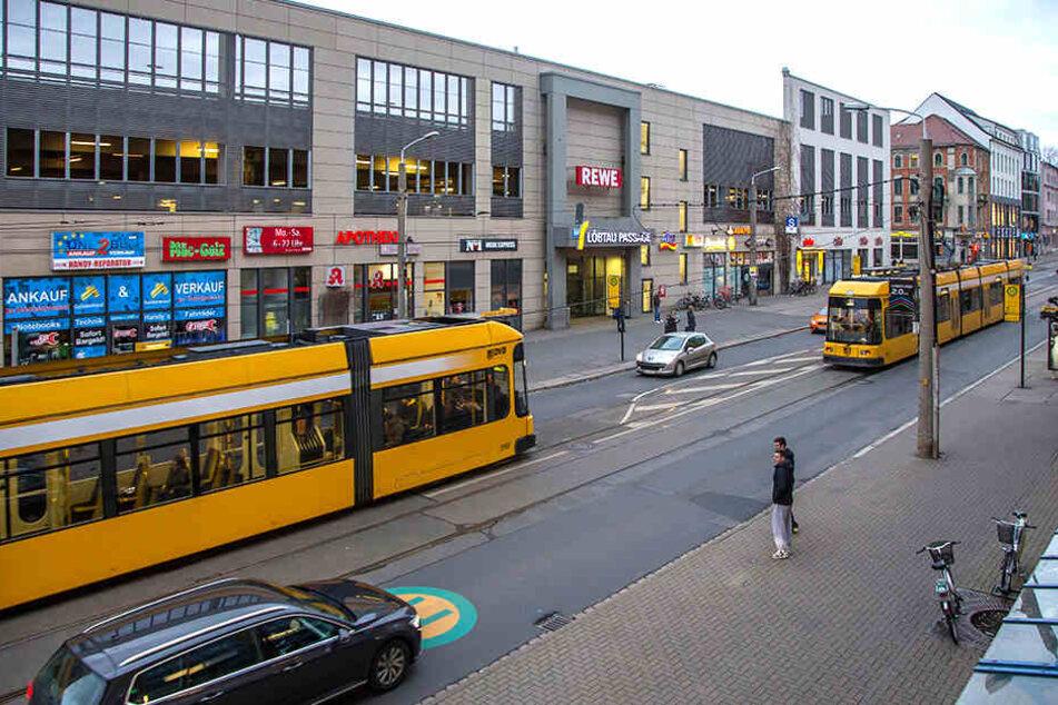 Der Ausbau der Kesselsdorfer Straße bleibt umstritten. Im vorderen Teil (im Bild) soll eine neue Zentralhaltestelle entstehen.