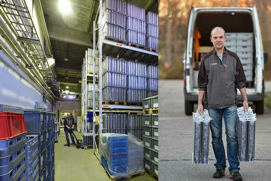 li.: Drei Millionen Becher lagern, verteilt auf mehrere Hallen, in Dresden. re.: Je zehn Kilo wiegt eine der Transportboxen. 50.000 Becher passen in einen Mini-Laster.