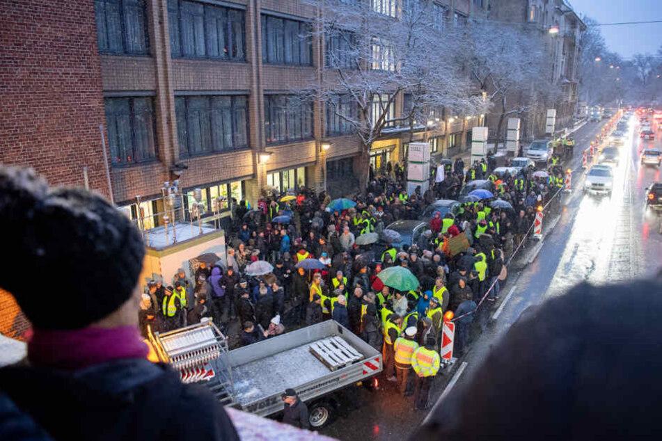 Demonstration am Neckartor gegen das Dieselfahrverbot.