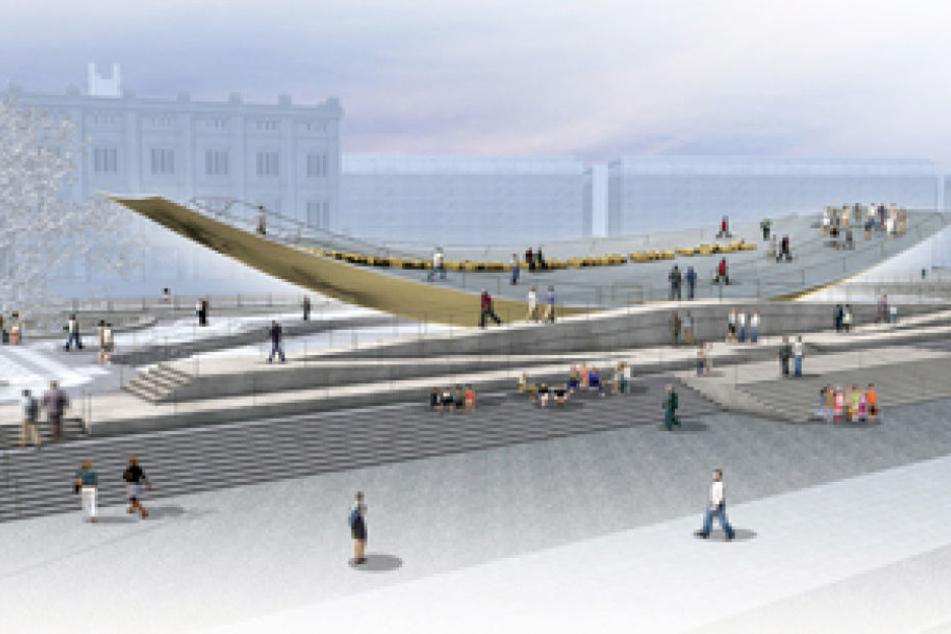 Laut den Vorschlägen verschiedener Künstler und Architekten soll das Denkmal begehbar sein.