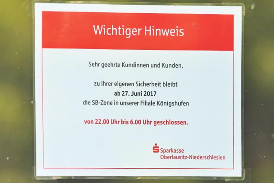 In der Oberlausitz werden wie hier in Königshufen nachts erste Bankfilialen schließen - aus Angst vor den Automatensprengern.