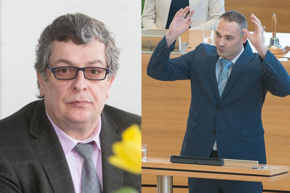 Gegen AfD-Abgeordneten Carsten Hütter (52, links) und Sebastian Wippel (33) stellte Kasek Anzeige.