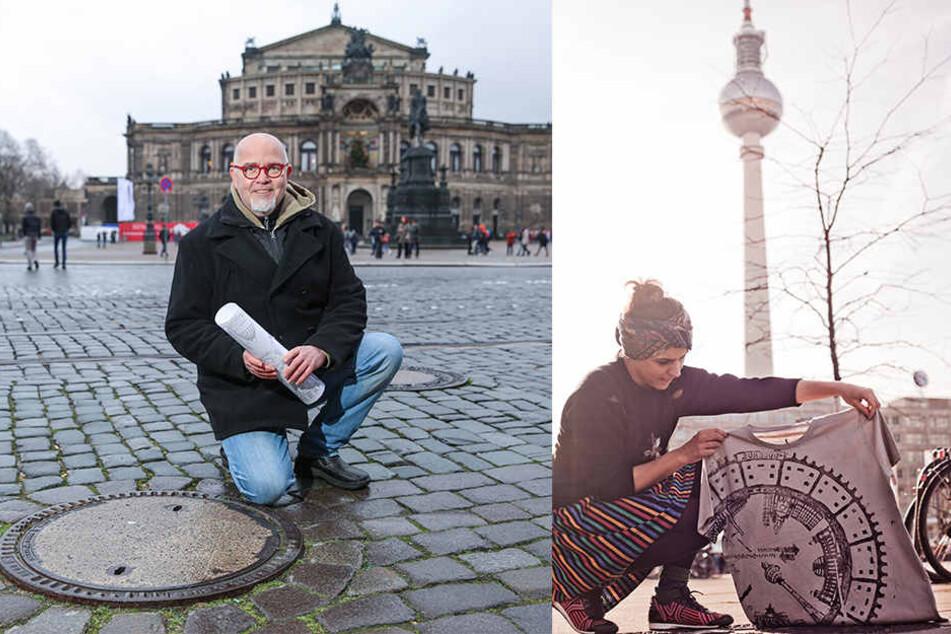"""Die Berliner Künstlerin """"Raubdruckerin"""" (re.) nutzt unter anderem Gullydeckel als Druckplatte - und ist das Vorbild der Dresdner Aktion von Künstler Peter Scharfe (56, li.)."""