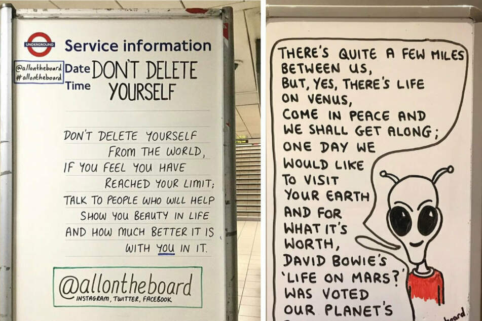 "Sometimes the messages are thoughtful like ""Don't delete yourself"" (l) and sometimes they are funny and have caricatures (r)."
