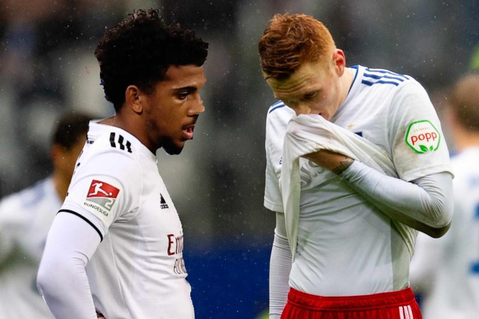 Xavier Amaechi (20, links) und David Bates (24) stehen beim HSV vor dem Aus.
