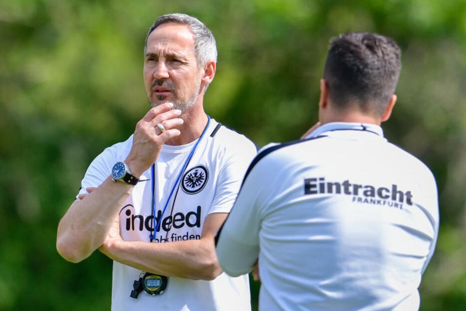 Eintracht-Trainer Adi Hütter (Li.) und sein Co-Trainer Christian Peintinger.