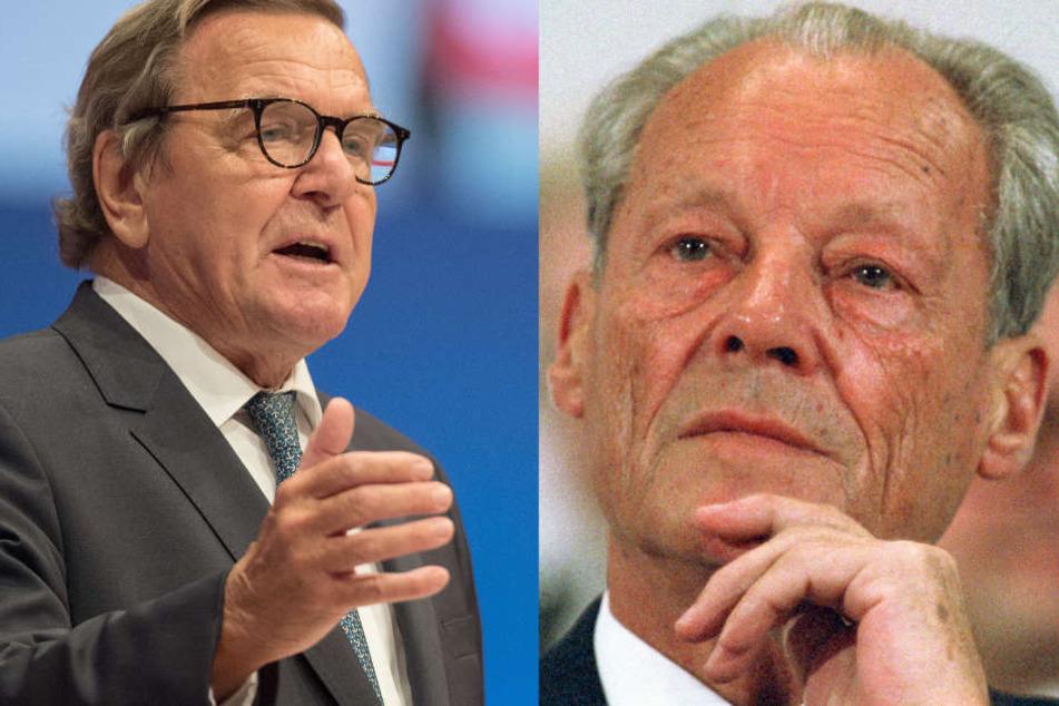 Gerhard Schröder (links) und Willy Brandt (rechts): Solche Politiker fehlen der SPD heute, sagt Hück.