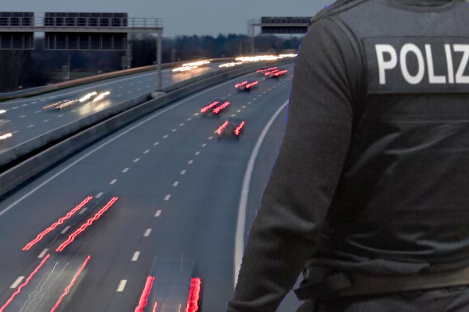 Frau rast mit Mann auf Motorhaube über Autobahn