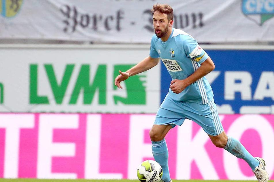 Beim Spiel gegen die Würzburger Kickers stand der Chemnitzer Verteidiger auf dem Feld. Damals verlor sein Team 0:3.