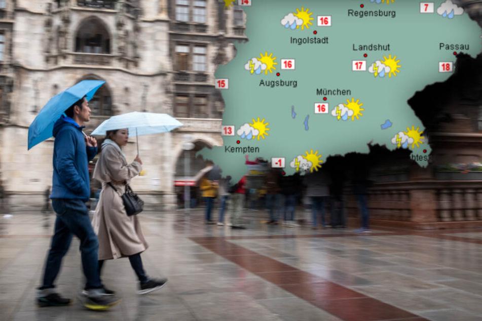 Am Samsatg kann es zu SRegenschauern und Gewittern in Bayern kommen. (Bildmontage)