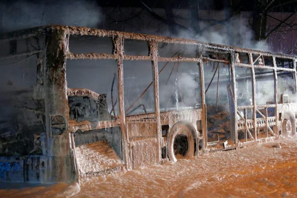 Schnell stand der tonnenschwere Bus lichterloh in Flammen.