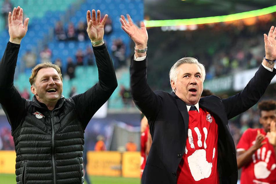 Hoch die Hände, Wochenende! RB-Trainer Ralph Hasenhüttl (l.) und sein Kollege Carlo Ancelotti kamen in den letzten Wochen aus dem Feiern gar nicht mehr raus.