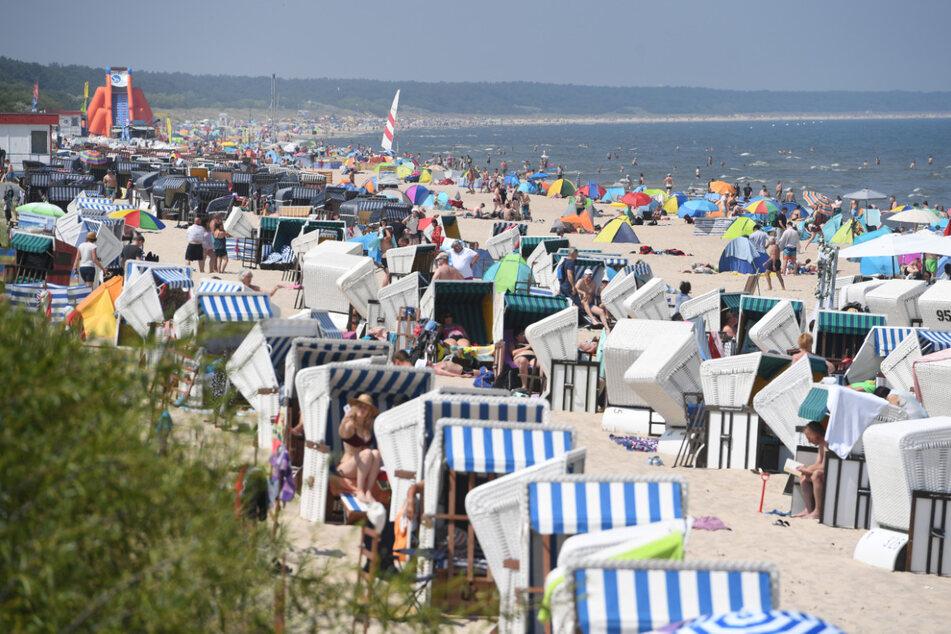 Touristen nutzen am Samstag das hochsommerliche Wetter am Strand von Zinnowitz auf der Insel Usedom zum Sonnen und Baden.