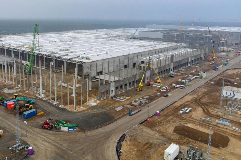 Die Baustelle der Tesla Giga-Factory in Grünheide