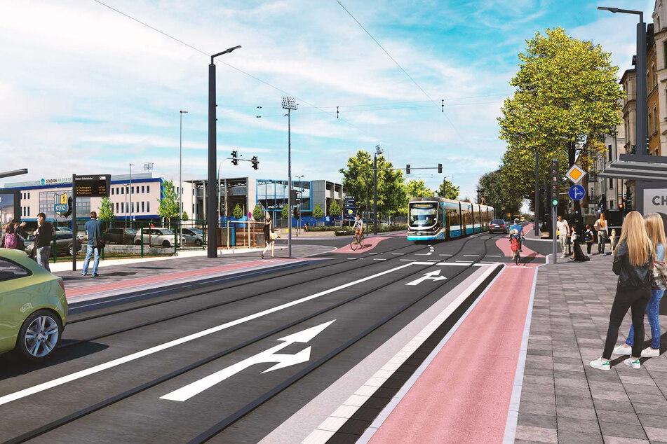 Laut den CVAG-Plänen könnte die Linie 3 am Stadion an der Gellertstraße vorbeiführen.