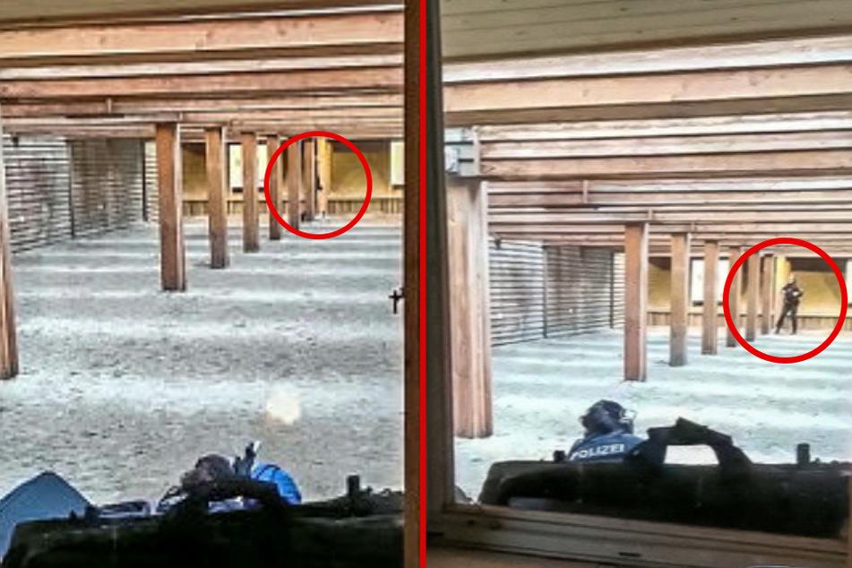 Lebensgefährlicher Leichtsinn: Während die Polizistin schießt, hält sich der Chef-Schießtrainer verbotenerweise vor der Feuerlinie im Bereich der Zielscheiben auf.