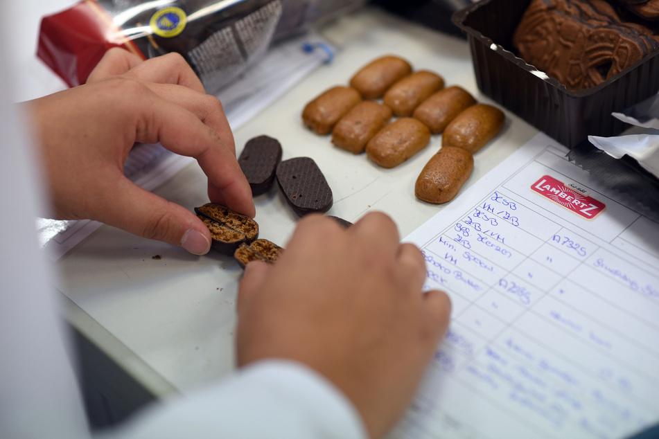 Eine Mitarbeiterin der Printen-und Schokoladenfabrik Henry Lambertz GmbH & Co prüft bei einer Werksführung die Qualität von Aachener Printen. (Archivbild)