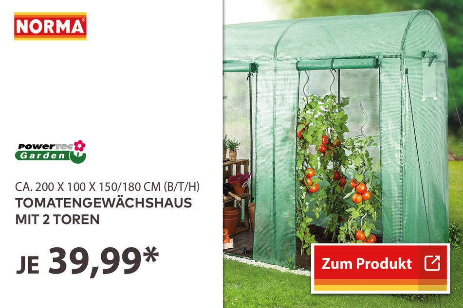 Tomatengewächshaus für nur 39,99 Euro.