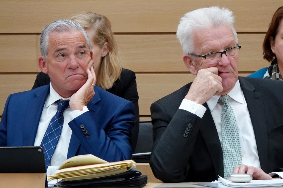 Thomas Strobl (links, CDU) und Winfried Kretschmann (Grüne) in Stuttgart: In Baden-Württemberg regiert seit Jahren eine grün-schwarze Koalition. Künftig auch im Bund?