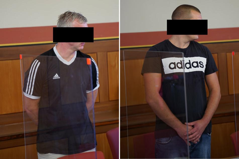 Robert G. (36, l.) schwieg zu den Vorwürfen vor Gericht. Marco K. (30) räumte im Prozess mehrere Diebstähle ein.