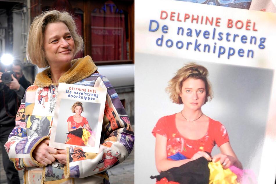 """Delphine Boël (52) hält ihr Buch """"Cutting the Umbilical Cord"""" in den Händen."""