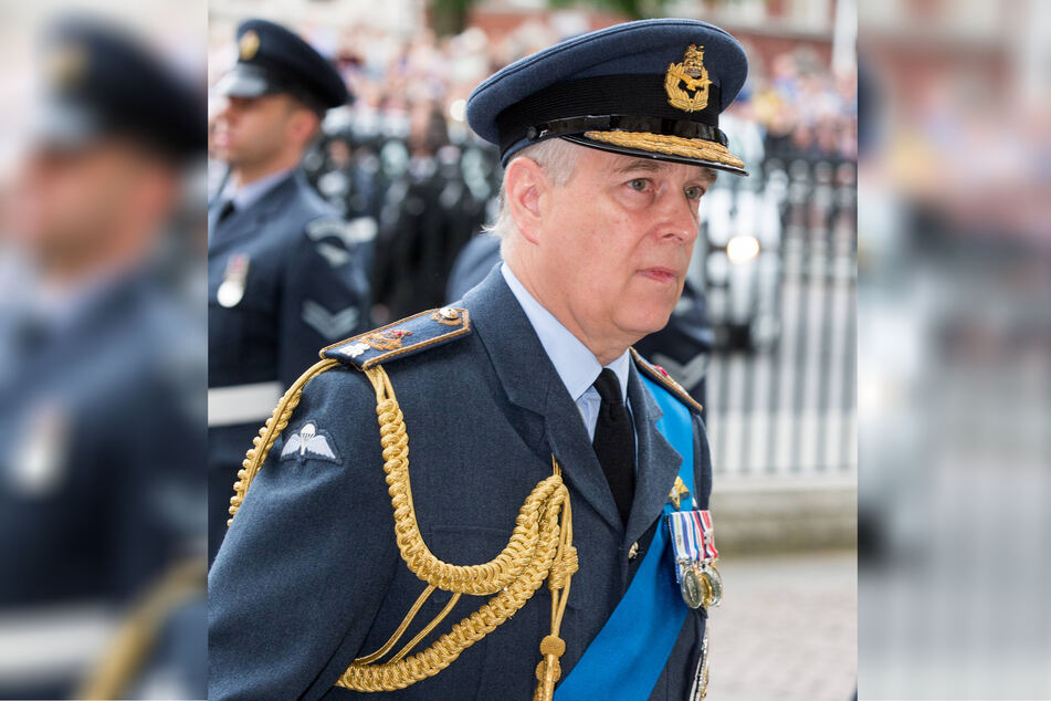 Prince Andrew, pictured here in 2018, attending a Royal Air Force ceremony, has decided that his promotion to Admiral of the Royal Navy should happen before his father's funeral.