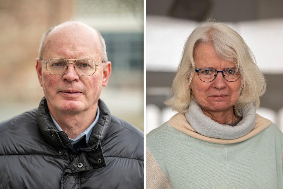 """AfD-Stadtrat Günter Boden (64, l.) fordert einen Bürgerentscheid, Grünen-Stadträtin Katharina Weyandt (60) findet den AfD-Vorschlag """"völlig irre""""."""