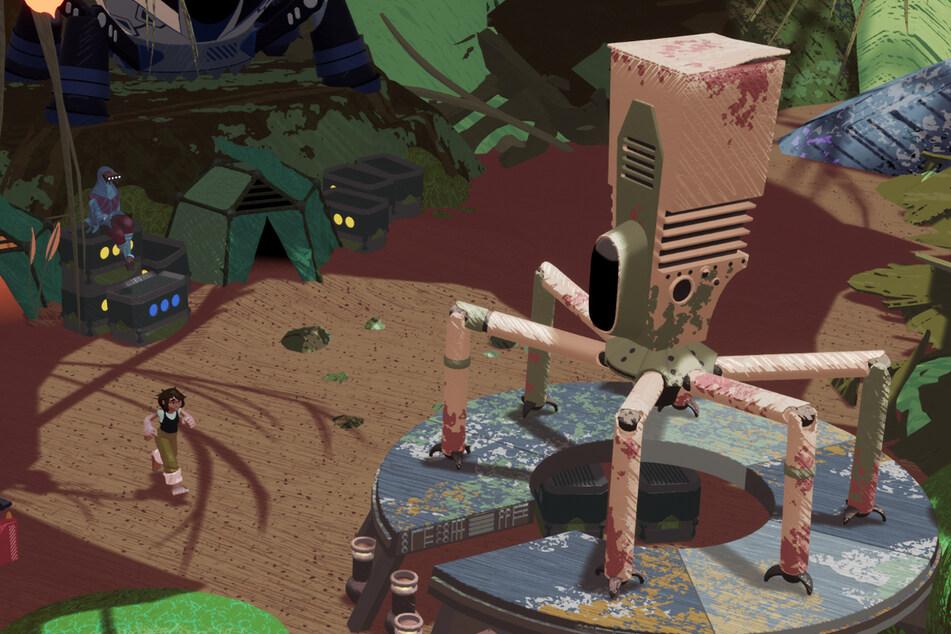 """In """"Stonefly"""" schlüpft Ihr in die Rolle der jungen Erfinderin Annika, die hier so zielstrebig auf ihren Mech zuläuft. Mithilfe des Kampfroboters erkundet unsere Heldin einen riesigen Wald auf der Suche nach dem Roboter ihres Vaters."""