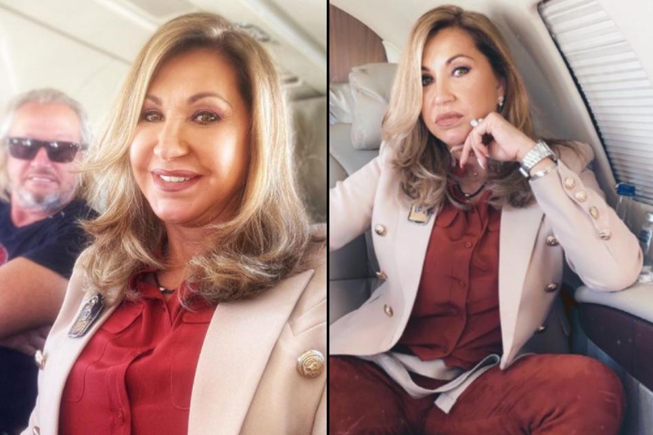 """Carmen Geiss (56) fliegt für """"Schlag den Star"""" im Luxus-Jet von Monaco nach Köln. (Fotomontage)"""
