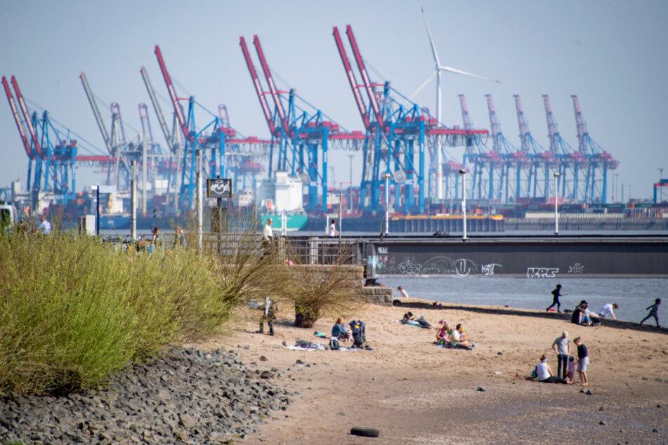 Seit Wochen herrscht in Hamburg - ganz ungewohnt - strahlender Sonnenschein wie hier am Ufer der Elbe.