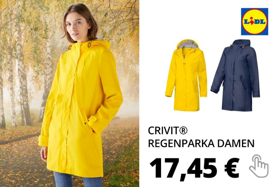 CRIVIT® Regenparka Damen, mit Reißverschluss, verlängerte Rückenpartie, wasserabweisend