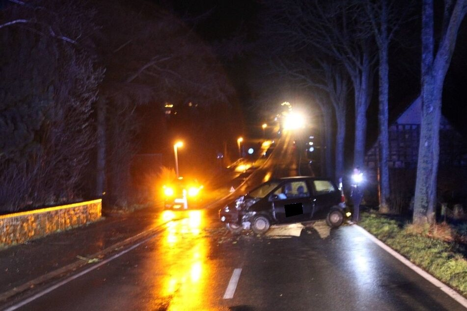 Der Renault ist frontal gegen einen Baum geprallt.