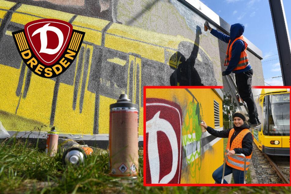Junge Dynamo-Fans mit Graffiti-Großprojekt: Trafostation in Weinböhla jetzt 100 Prozent Schwarz-Gelb!