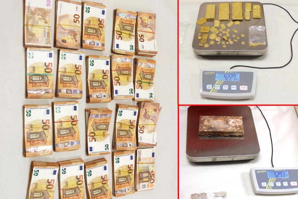 Teile des sichergestellten Bargelds, Goldes und Silbers bei der Polizei. (Bildmontage)