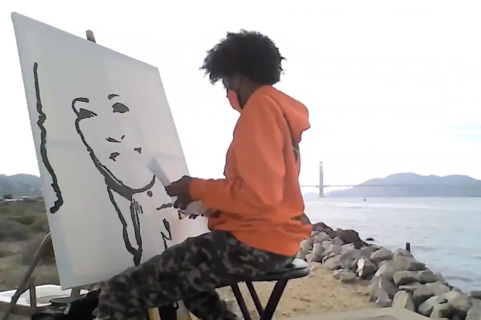 Tyler Gordon hat ein Porträt von Kamala Harris gemalt.