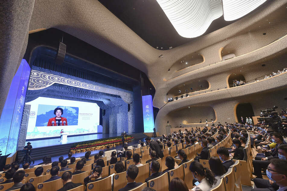 Chinese Vice Premier Sun Chunlan addresses the opening ceremony of the 44th session of the World Heritage Committee of UNESCO in Fuzhou.