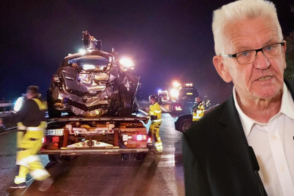 Ministerpräsident Kretschmann an schwerem Unfall beteiligt