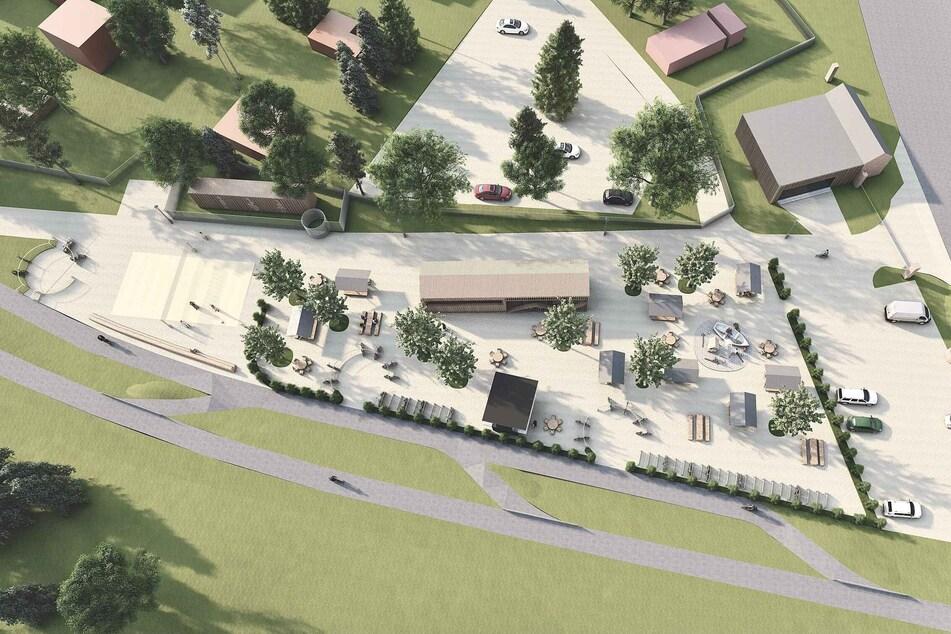 Ein Super-Biergarten: Dieses Projekt soll bis August am Chemnitztal-Radweg in Wittgensdorf entstehen.