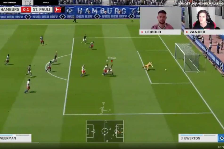 Luca Zander erzielt bei dem virtuellen Derby das zweite Tor für den FC St. Pauli.