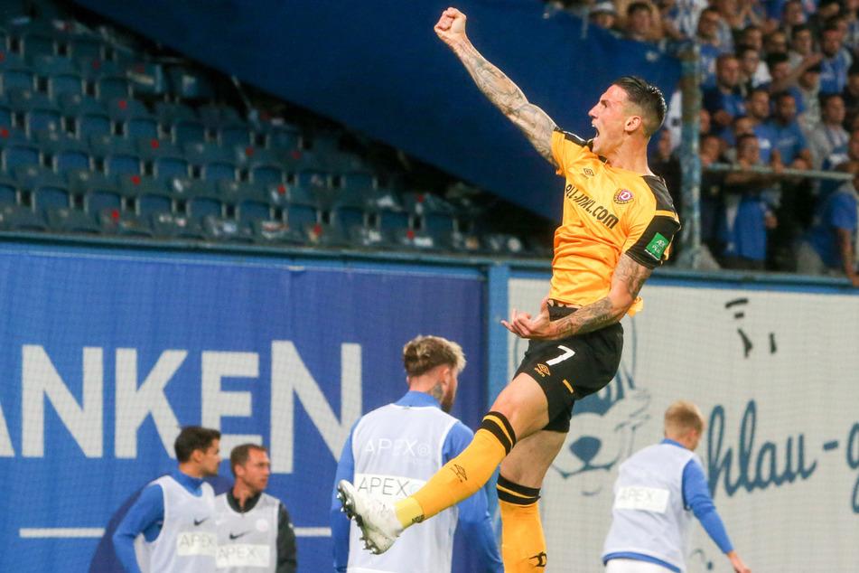 Eingewechselt und getroffen! Panagiotis Vlachodimos (29) bejubelt seinen Treffer zum zwischenzeitlichen wichtigen 2:1 für die Dynamos beim 3:1-Erfolg in Rostock.