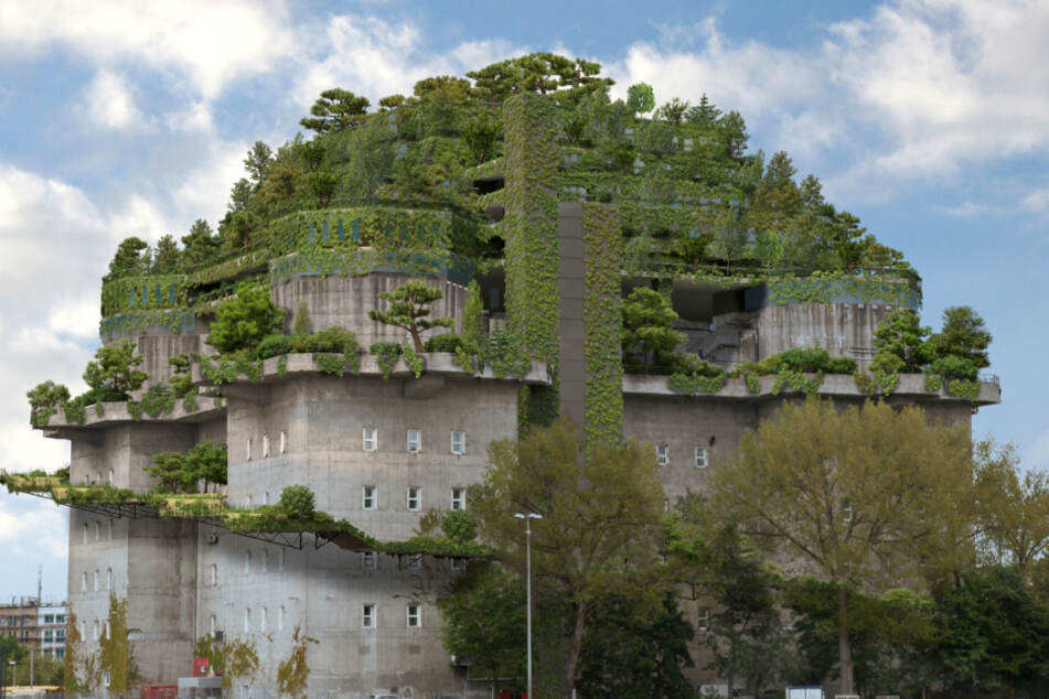 """Für 40 Millionen Euro: So weit sind die Arbeiten am """"Grünen Bunker"""" in St. Pauli"""