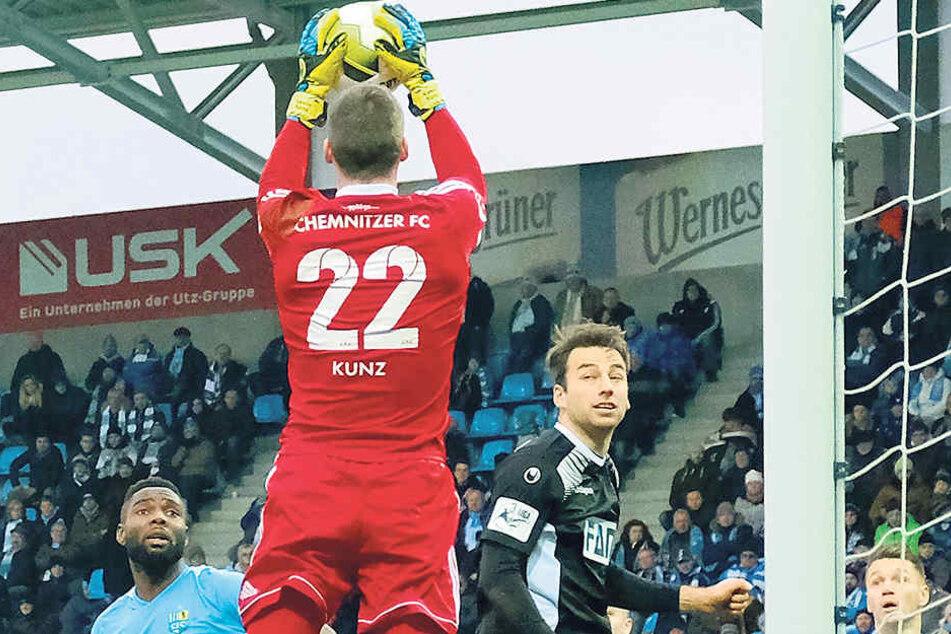 Hier ging es gut: CFC-Keeper Kevin Kunz pflückt einen Eckball im Spiel gegen Magdeburg runter. Verloren hat Chemnitz trotzdem.