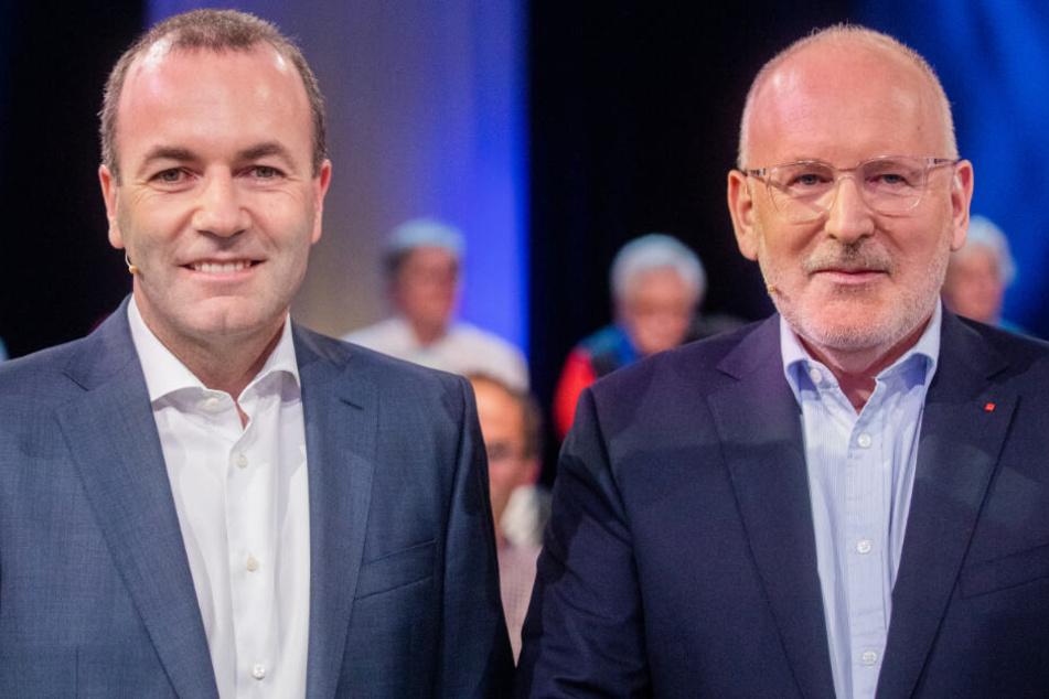Manfred Weber (l.) und Frans Timmermans (r.) kämpfen um die Gunst der Wähler.
